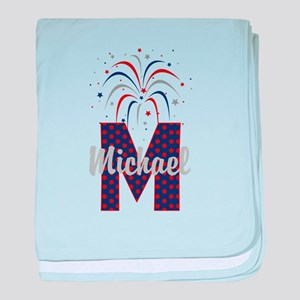 4th of July Fireworks letter M baby blanket
