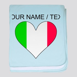 Custom Italy Flag Heart baby blanket