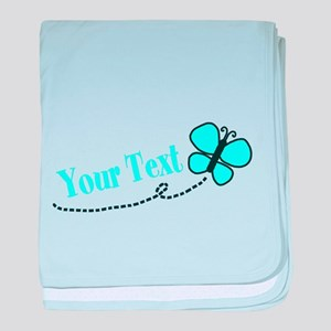 Personalizable Teal and Black Butterfly baby blank
