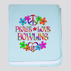 Peace Love Bowling baby blanket