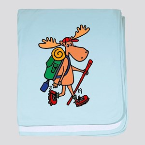 Moose Hiking baby blanket