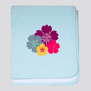 Colourful hibiskus flowers baby blanket