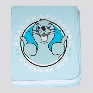 Seal of approval happy art baby blanket
