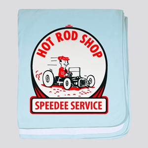Hot Rod Shop Cartoon baby blanket