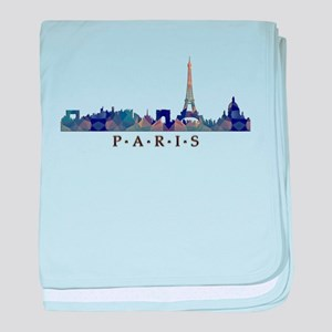 Mosaic Skyline of Paris France baby blanket