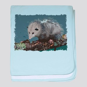 Opossum on a Gnarley Branch baby blanket