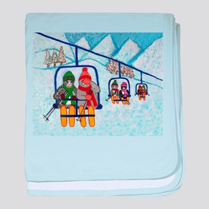 Cats Riding Ski Lift baby blanket