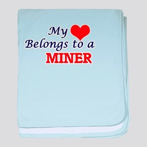 My heart belongs to a Miner baby blanket