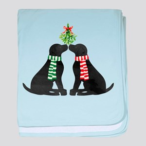 Black Labs Kissing Mistletoe baby blanket