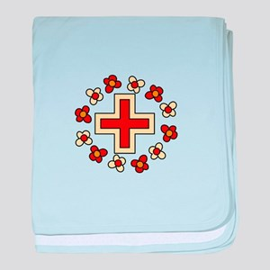 Floral Red Cross baby blanket