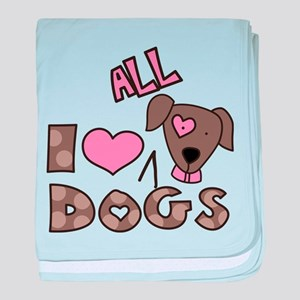 I Love All Dogs baby blanket