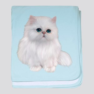 white Persian Cat baby blanket