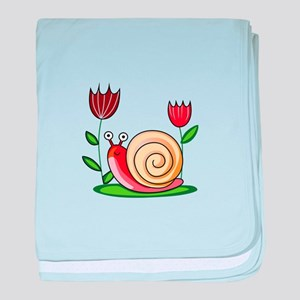 SNAIL AND FLOWERS baby blanket