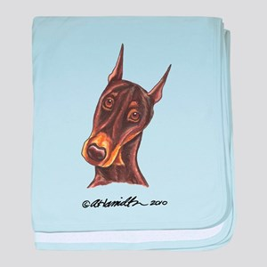 Red Rust Doberman Pinscher baby blanket