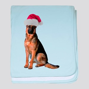 Santa German Shepherd baby blanket