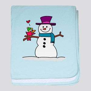 Snowman bird love christmas baby blanket