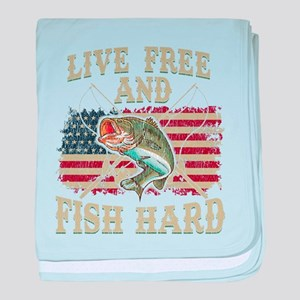 Live Free and Fish Hard Patriotic Fis baby blanket