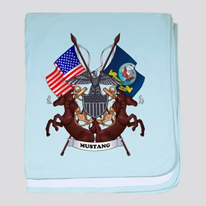 Navy Mustang Emblem baby blanket