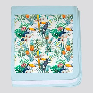 Vintage Chic Pinapple Tropical Hibisc baby blanket
