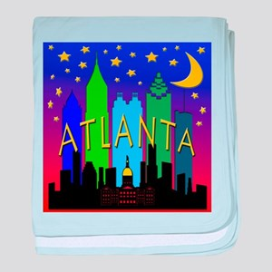 Atlanta Skyline nightlife baby blanket