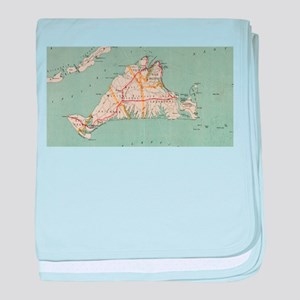 Vintage Map of Martha's Vineyard (191 baby blanket