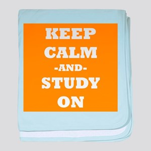 Keep Calm And Study On (Orange) baby blanket