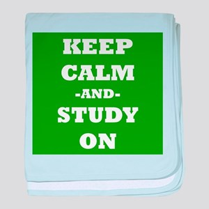 Keep Calm And Study On (Green) baby blanket