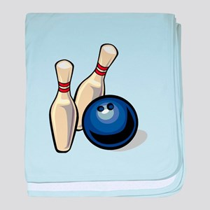 Bowling ball with pins baby blanket