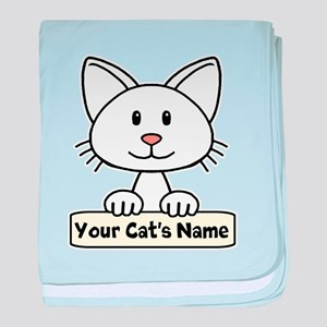 Personalized White Cat baby blanket