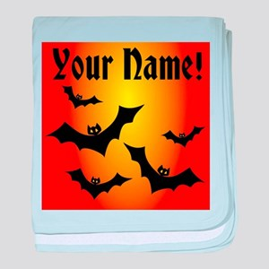 Personalized Halloween Bats baby blanket