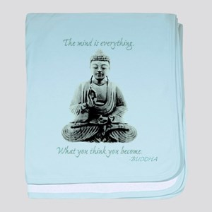 Buddha quote : Mind is Everything baby blanket
