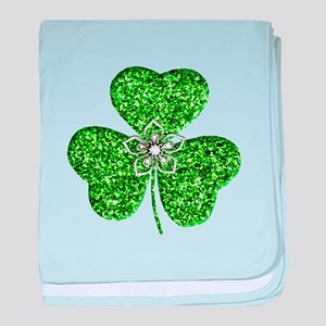 Glitter Shamrock With A Flower baby blanket