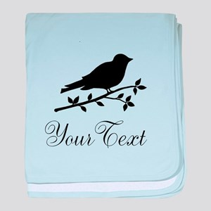 Personalizable Black Bird Silhouette baby blanket