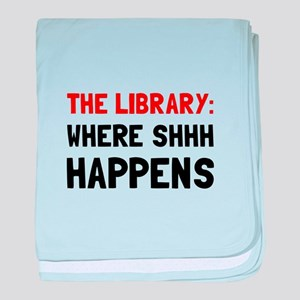 Library Shhh Happens baby blanket