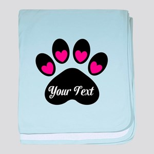 Personalizable Paw Print Pink baby blanket