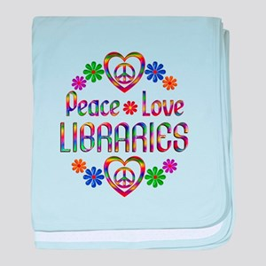 Peace Love Libraries baby blanket