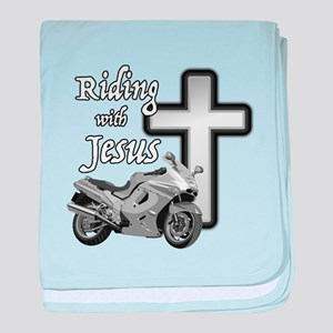 Riding with Jesus baby blanket