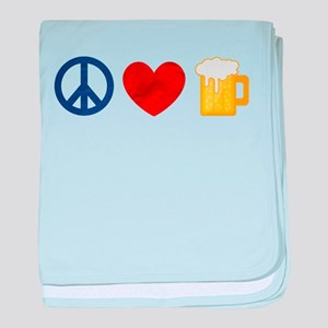 Peace Love Beer baby blanket
