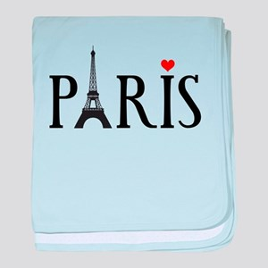 Paris with Eiffel tower and red heart baby blanket