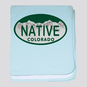 Native Colo License Plate baby blanket