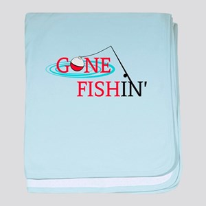 Gone fishing bobber and fishing pole baby blanket