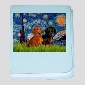Starry Night Doxie Pair baby blanket