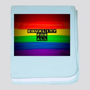 Equality for all . Rainbow art baby blanket