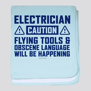 Caution Electrician baby blanket
