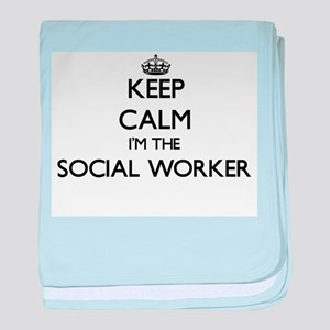 Keep calm I'm the Social Worker baby blanket