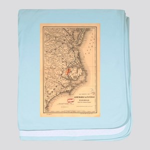 Vintage Map of The North Carolina Coa baby blanket