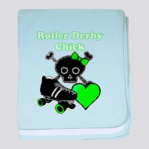 Roller Derby Chick (Green) baby blanket