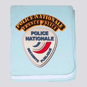 Police Nationale France Police with T baby blanket