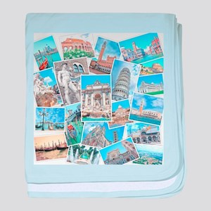 Italy Collage baby blanket