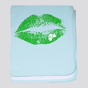 Green Lips & White Irish Shamrock baby blanket